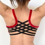Cross Top Velours Rouge/Noir